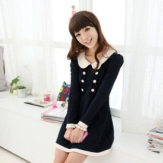 59 Seconds - Double-Breasted Peter Pan Collar Dress