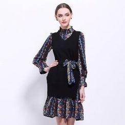 Ameous - 套裝: 圖案襯衫裙 + 長針織馬甲
