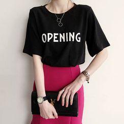 NIPONJJUYA - Round-Neck Lettering T-Shirt