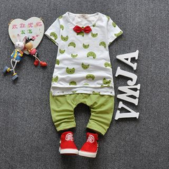 POMME - Kids Set: Cat Print Short-Sleeve T-Shirt + Pants