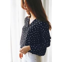 CHERRYKOKO - V-Neck Waterdrop Pattern Blouse