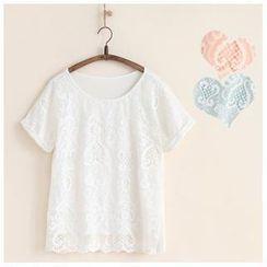 11.STREET - Short-Sleeve Lace Overlay T-Shirt