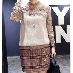 Sienne - Long-Sleeve Knit Panel Lace Top