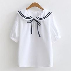 ninna nanna - Short-Sleeve Sailor Collar Shirt