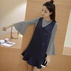 Angel Shine - Set: Striped Long Sleeve T-Shirt + Ruffle Hem Pinafore Dress
