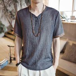 JORZ - Patterned Trim V-Neck Short-Sleeve T-Shirt