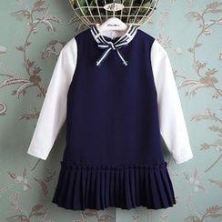 Kidora - 童装长袖撞色百褶连衣裙