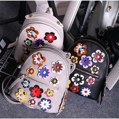 Coxchamp - Floral Applique Faux Leather Backpack