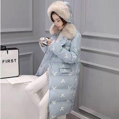 Mariposa - Furry Trim Hooded Print Down Coat