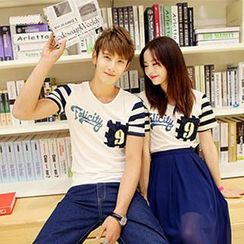 Gurun Vani - Striped Sleeve Lettering Couple T-Shirt