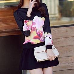 Athena - Set: Printed Pullover + Shirred Skirt