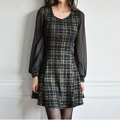 Fashion Street - Check Long-Sleeved Mini Dress