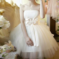 名贵风格 - Strapless Bow-Accent Tulle A-Line Cocktail Dress