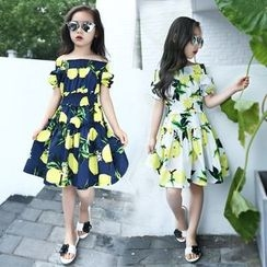 Pegasus - Kids Lemon Print Off-Shoulder A-Line Dress