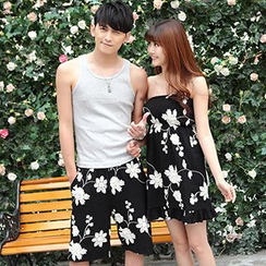 Igsoo - Couple Matching Floral Print Shorts / Ruffle Hem Tube Dress