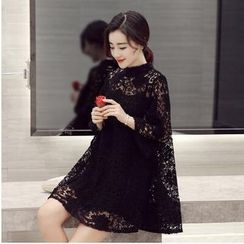 MayFair - Set: Bell Sleeve Crochet Lace Dress + Slipdress