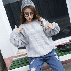 YOSH - Plaid Batwing Sweatshirt