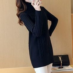Yamster - Ribbed Turtleneck Knit Top