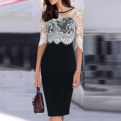 Noctiluca - Lace Trim Elbow Sleeve Midi Dress