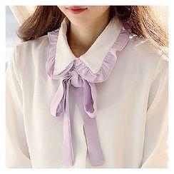Sechuna - Detachable-Ribbon Contrast-Trim Blouse
