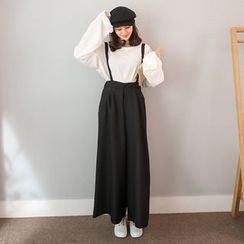 PPGIRL - Wide-Leg Suspender Pants