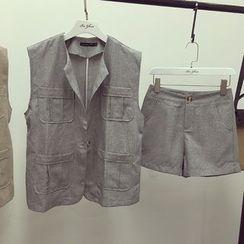 Octavia - Set: Linen Blend Vest + Wide Leg Shorts