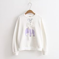 Vateddy - Elephant Print Lace-Up Pullover