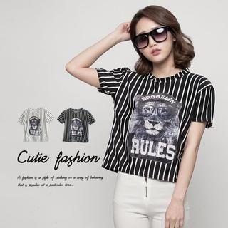 CUTIE FASHION - Striped Appliqué T-Shirt