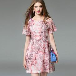 洛圖 - 短袖印花A字連衣裙