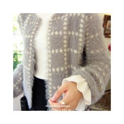 LEELIN - Round-Neck Furry-Knit Cardigan