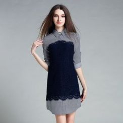Cherry Dress - Long-Sleeve Lace Panel Dress