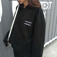 COMON - Lettering Embroidered Hoodie