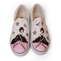 HVBAO - Painted Girl Canvas Slip-Ons