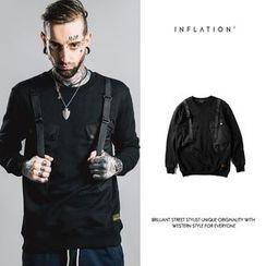 Newin - Suspender Detail Printed Sweatshirt