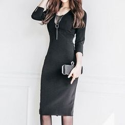 Aurora - Elbow-Sleeve Sheath Dress