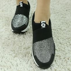 Dodostyle - Glittered-Panel Band-Trim Slip-Ons