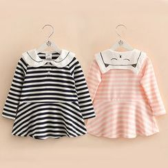 Seashells Kids - Kids Sailor Collar Striped Long-Sleeve Dress