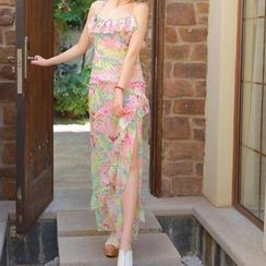 JVL - Set: Floral Chiffon Sleeveless Top + Ruffled Skirt