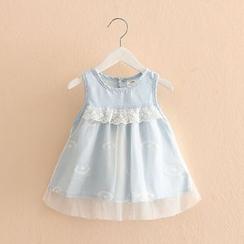 贝壳童装 - 儿童蕾丝拼接无袖牛仔连衣裙