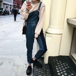 Fancy Room - Fray-Hem Paneled Cropped Jumper Jeans