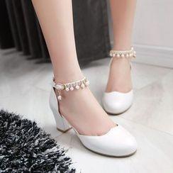 Charming Kicks - Faux Pearl Ankle Strap Pumps