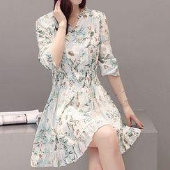 ONXZ - Floral Print Long Sleeve Chiffon Dress