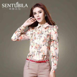 Sentubila - Puff-Sleeve Floral-Print Blouse