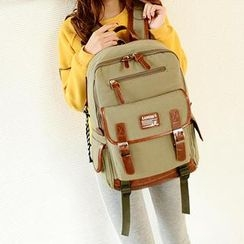 Miss Sweety - Faux-Leather-Trim Appliqué Canvas Backpack