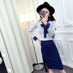 Bloombloom - Set: Tie Neck Long Sleeve Knit Top + Plain Midi Knit Skirt