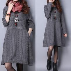 繽紛色彩 - 長袖連衣裙