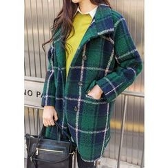 J-ANN - Double-Breasted Check Coat