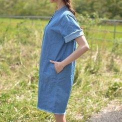 JUSTONE - Fray-Edge Half-Placket Denim Dress