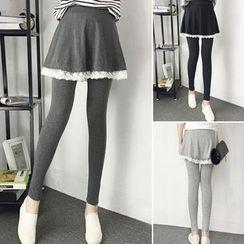 Bloombloom - Lace Trim Inset Skirt Leggings