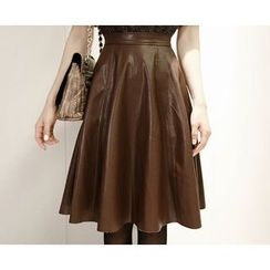 Marlangrouge - Faux-Leather Flare Midi Skirt